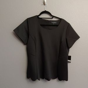 NWT black top with scalloped trim